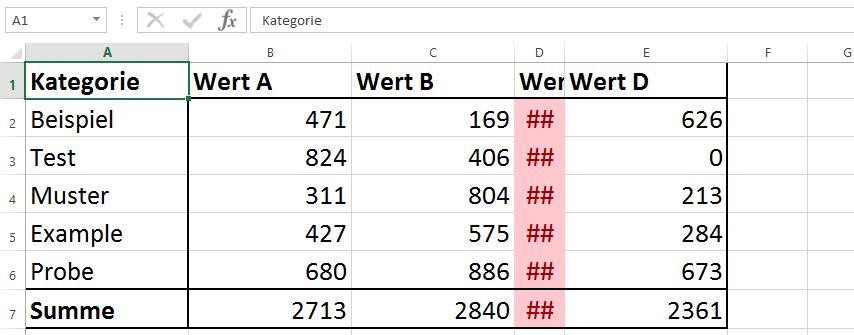 Excel Fehler Spalte