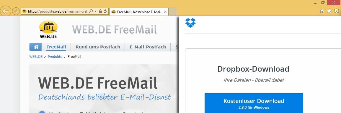 Internetdienste wie Web.de oder Dropbox