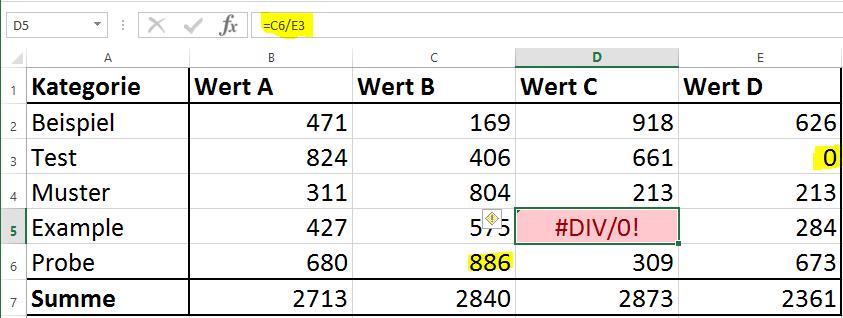 Excel Fehler DIV0