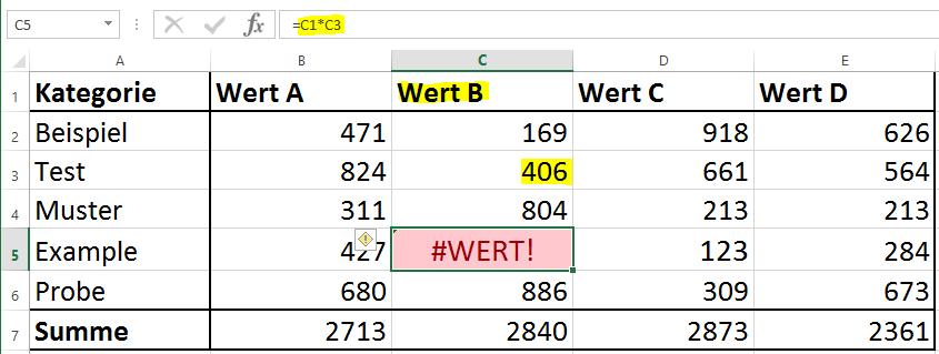 Excel Fehler WERT