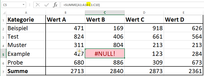 Excel Fehler NULL